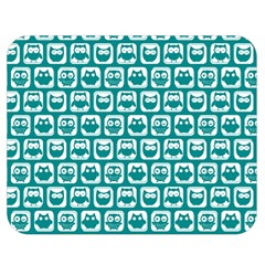 Teal And White Owl Pattern Double Sided Flano Blanket (medium)