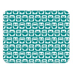 Teal And White Owl Pattern Double Sided Flano Blanket (large)