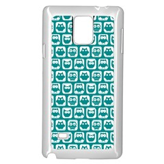 Teal And White Owl Pattern Samsung Galaxy Note 4 Case (white)