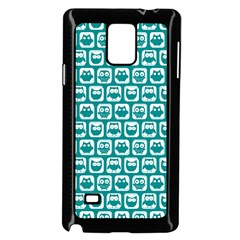Teal And White Owl Pattern Samsung Galaxy Note 4 Case (Black)