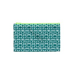 Teal And White Owl Pattern Cosmetic Bag (XS)