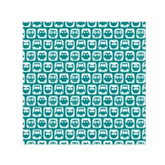 Teal And White Owl Pattern Small Satin Scarf (Square)