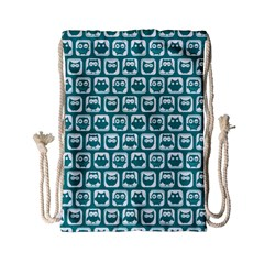 Teal And White Owl Pattern Drawstring Bag (Small)