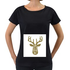 Life Is A Party Buck Deer Women s Loose Fit T Shirt (black)