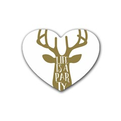 Life Is A Party Buck Deer Heart Coaster (4 pack)