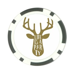 Life Is A Party Buck Deer Poker Chip Card Guards