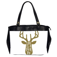 Life Is A Party Buck Deer Office Handbags (2 Sides)