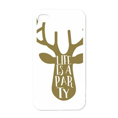 Life Is A Party Buck Deer Apple iPhone 4 Case (White)