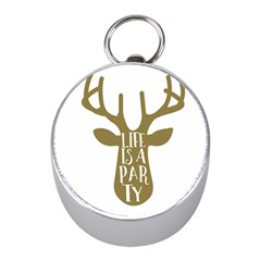 Life Is A Party Buck Deer Mini Silver Compasses