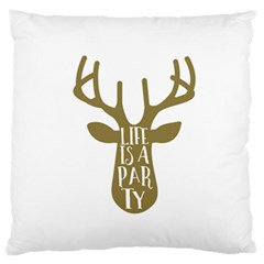 Life Is A Party Buck Deer Standard Flano Cushion Cases (One Side)