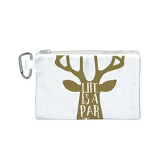 Life Is A Party Buck Deer Canvas Cosmetic Bag (S)