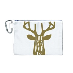 Life Is A Party Buck Deer Canvas Cosmetic Bag (M)