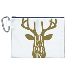 Life Is A Party Buck Deer Canvas Cosmetic Bag (XL)