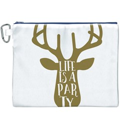Life Is A Party Buck Deer Canvas Cosmetic Bag (XXXL)