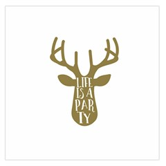 Life Is A Party Buck Deer Large Satin Scarf (Square)