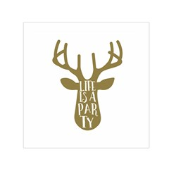 Life Is A Party Buck Deer Small Satin Scarf (Square)
