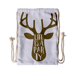 Life Is A Party Buck Deer Drawstring Bag (Small)