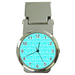 Aqua Turquoise And White Owl Pattern Money Clip Watches
