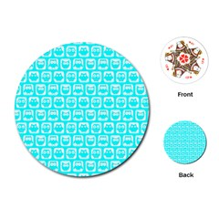 Aqua Turquoise And White Owl Pattern Playing Cards (Round)