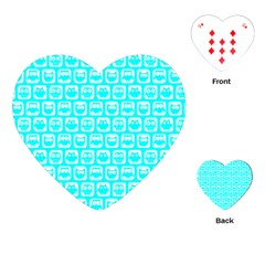 Aqua Turquoise And White Owl Pattern Playing Cards (Heart)