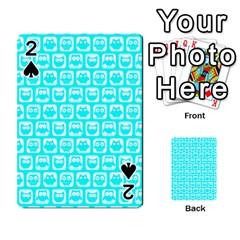 Aqua Turquoise And White Owl Pattern Playing Cards 54 Designs
