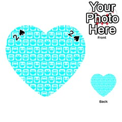 Aqua Turquoise And White Owl Pattern Playing Cards 54 (heart)