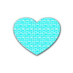 Aqua Turquoise And White Owl Pattern Heart Coaster (4 pack)