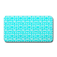 Aqua Turquoise And White Owl Pattern Medium Bar Mats