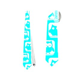 Aqua Turquoise And White Owl Pattern Neckties (Two Side)