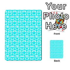 Aqua Turquoise And White Owl Pattern Multi-purpose Cards (Rectangle)