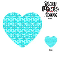 Aqua Turquoise And White Owl Pattern Multi Purpose Cards (heart)
