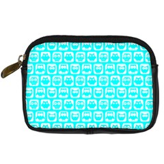 Aqua Turquoise And White Owl Pattern Digital Camera Cases