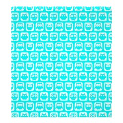 Aqua Turquoise And White Owl Pattern Shower Curtain 66  x 72  (Large)