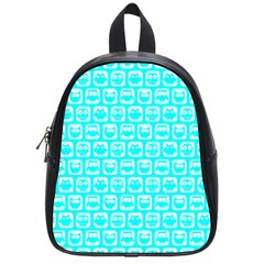 Aqua Turquoise And White Owl Pattern School Bags (Small)