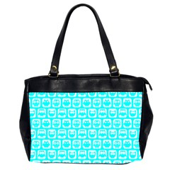 Aqua Turquoise And White Owl Pattern Office Handbags (2 Sides)