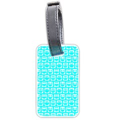 Aqua Turquoise And White Owl Pattern Luggage Tags (Two Sides)
