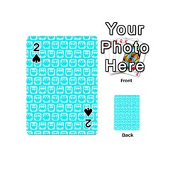 Aqua Turquoise And White Owl Pattern Playing Cards 54 (Mini)