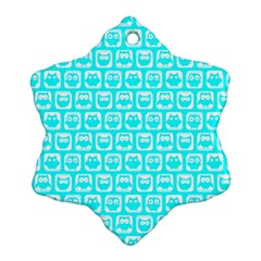 Aqua Turquoise And White Owl Pattern Snowflake Ornament (2-Side)