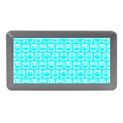 Aqua Turquoise And White Owl Pattern Memory Card Reader (mini)