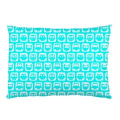 Aqua Turquoise And White Owl Pattern Pillow Cases (two Sides)