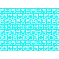 Aqua Turquoise And White Owl Pattern Birthday Cake 3D Greeting Card (7x5)