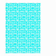 Aqua Turquoise And White Owl Pattern Small Garden Flag (Two Sides)