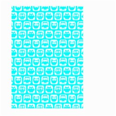 Aqua Turquoise And White Owl Pattern Large Garden Flag (Two Sides)