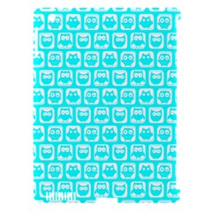 Aqua Turquoise And White Owl Pattern Apple iPad 3/4 Hardshell Case (Compatible with Smart Cover)
