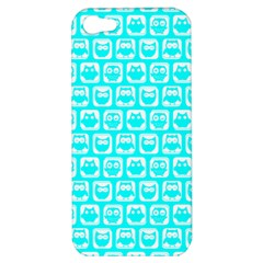 Aqua Turquoise And White Owl Pattern Apple iPhone 5 Hardshell Case