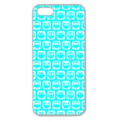 Aqua Turquoise And White Owl Pattern Apple Seamless iPhone 5 Case (Clear)