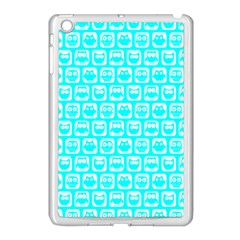 Aqua Turquoise And White Owl Pattern Apple iPad Mini Case (White)