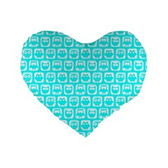Aqua Turquoise And White Owl Pattern Standard 16  Premium Heart Shape Cushions