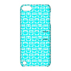 Aqua Turquoise And White Owl Pattern Apple iPod Touch 5 Hardshell Case with Stand