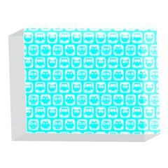 Aqua Turquoise And White Owl Pattern 5 x 7  Acrylic Photo Blocks